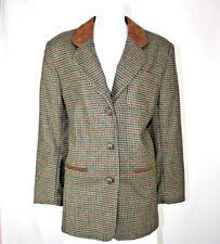 Compagnie Internationale Express Suede Collar Houndstooth Tweed Jacket - size M