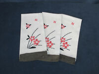 Tea Towels Linen Embroidered Guest Bathroom Flowers Vintage White Peach Set of 3