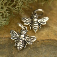 Tiny Bee Necklace Insect Honeybee BumbleBee Sterling Silver Charm Pendant 699