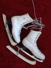 """Paire de patins à glace vintage en cuir blanc marque Lico. Taille 8 1/3"""" - 21"""