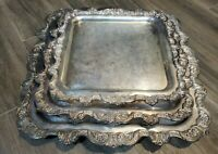 SET OF 3 EPCA Poole Silver Company #812, 813, 814 Footed Serving Tray Plated Set