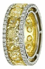 25 ct Cushion Yellow Vivid Cocktail 925 Silver Ring Unique Broad Eternity Band