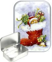Christmas Stocking Gift Box,Gift Tin, 30ml Small Tin,Pill Tin,Storage