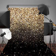 5x7FT Vinyl Glitter Black Gold Dots Background Photo Studio Backdrop Props @