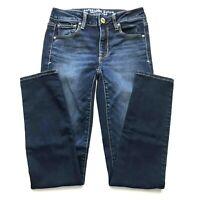 Womens American Eagle AEO Jeans Skinny Super Stretch size 2 Blue Denim Faded