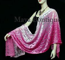 Maya Matazaro Hand Dyed Magenta Pink Camellia Shawl Wrap Scarf Burnout Velvet