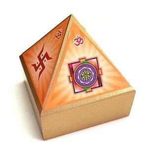 Unique Pyramid Wish Or Cash Wooden Box With Inside Mirror Shree Yantra / Aum