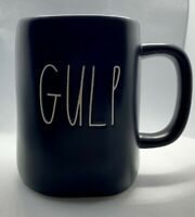 "New Rae Dunn by Magenta ""GULP"" Farmhouse Coffee Tea Mug Ceramic Black Collector"