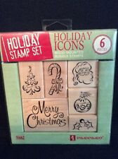Inkadinkado Holiday Stamp Set Merry Christmas Icons Holly Candy Cane Tree Santa