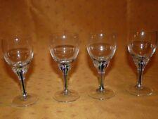 Lot 4 verres à Porto en cristal pied coloré vert & bleu / Crystal Porto glasses