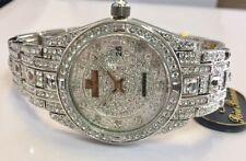 Jewelry Watch with Swarovski Crystals - Rhodium Silver - G3777Silver