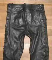 "fette Herren- Biker - LEDERJEANS / Schnür- Lederhose in schwarz ca. W35"" /L28"""