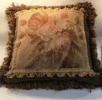 Beautiful Vintage Floral Pillow Needlepoint Silken Fringe w Velvet Back