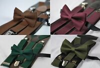 Cotton Bow tie + Elastic Suspenders Set for Men Youth Boy Kids Toddler Baby