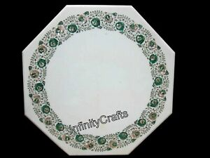 24 Inches Marble Coffee Table Top Malachite Gemstone Inlaid at Border Sofa table