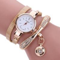 New Women Fashion Faux Leather Band Rhinestone Analog Quartz Wrist Watches