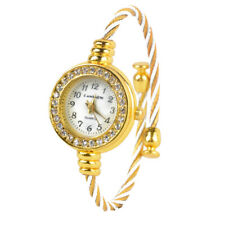 Fashion Women Girl Cuff Steel Wire Crystal Quartz Bracelet Bangle Wrist Watches
