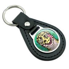 Leopard Gecko Licking Eye Black Leather Metal Keychain Key Ring