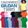 5 Pack Gildan Cotton T Shirt Womens Top Girls Ladies Wholesale Tee Tshirt