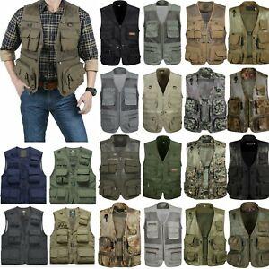 Multi Pocket Utility Vest Men Hunting Hiking Travelling Jacket Waistcoat Outdoor