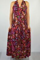 New Phase Eight Maxi Dress Paisley Purple Red Summer Holiday Wedding Size 12 BF