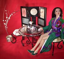"""20+ pc. OOAK 16"""" doll Asian diorama metal glass dinette & cherry blossom fabric"""
