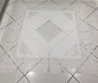 "VINTAGE ANTIQUE WHITE LINEN LACE TABLECLOTH SQUARE 60""x 66""BEAUTIFUL"