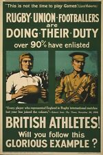 Rugby Union World War 1 British Army Recruitment Poster 7x5 Inch Reprint