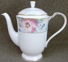 "Mikasa Bone China Matisse Pattern #CAH20 Coffee Pot & Lid 6 7/8""-5 Cup MINT"