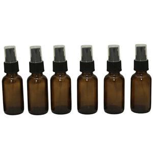 Destination Oils 1 oz Amber Glass Bottles With Pump Sprayer Set of 6