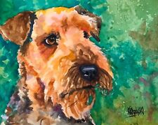 Airedale Terrier Art Print Signed by Artist Ron Krajewski Painting 8x10