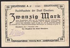 Elmshorn -Stadt- 20 Mark vom 7.11.1918 Unterschrift Mohr (faks.)