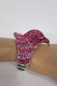 New Women Eagle Head Bird Fashion Metal Cuff Bracelet Silver Black Blue Hot Pink