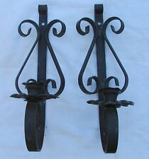 """2 WALL SCONCE METAL BLACK VINTAGE IRON CANDLE HOLDER 4 X 13 X 4 1/2"""" PATINA"""