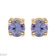 Tanzanite Stud Earrings, 0.42ctw, 4mm, Designed in Solid 10K Yellow Gold