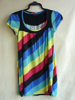 Ladies Top/tunic - Miss Selfridge, size 6, multi-bright stripe, cotton mix 1821