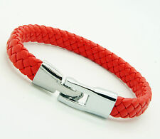 Unisex Genuine Leather Stainless Steel Clasp Bracelet Snap Lock Clasp Red L89