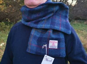 Harris Tweed Fleece Lined scarf Navy blue check