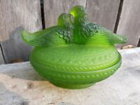 Moser Green Frosted Glass Nesting Bird Dish vintage