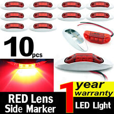 10X Red 10V-30V Side Light 3 LED Marker Truck Trailer Clearance Lamp Chrome Base