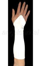 "15"" WHITE FINGERLESS ELBOW LENGTH STRETCH SATIN BRIDAL WEDDING COSTUME GLOVES"