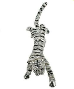 Gorgeous Animal Tiger Silver Tone Brooch Pin Clear Crystal Rhinestone Woman