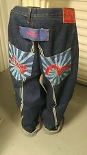 EVISU Heritage Jeans 42 x 33 Lot 0049 Low pocket Red Tag Baggy Dark Denim JAPAN