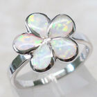 ADORABLE FLOWER WHITE OPAL 925 STERLING SILVER RING SIZE 5-10