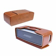 Tuff-Luv Personalised Vintage Genuine Leather Travel Case for Bose Mini - Brn