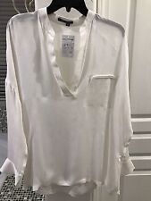 NWT Vince Silk Mandarin V Neck Collar Long Sleeve Blouse Off White Ivory Sz M