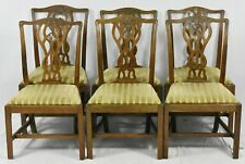 Set of 6 English Mahogany Chippendale Style Dining Chairs Williamsburg Style