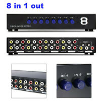 AV Switch Box Composite Selector 8 Way Port RCA Audio Video 8 In 1 Out To TV USA