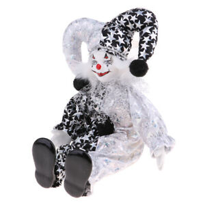 9 Inch Porcelain Smiling Clown Doll Wearing Black & White Outfits, Funny