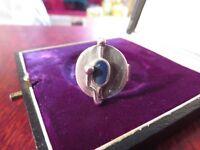 Abgefahrener 925 Silber Ring Designer Blau Email 70er Spacig Antennen Rund Chic